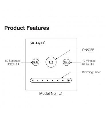 Mi-Light 1-channel 0~10V panel dimmer L1 - features