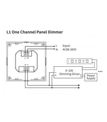Mi-Light 1-channel 0~10V panel dimmer L1 - connection diagram