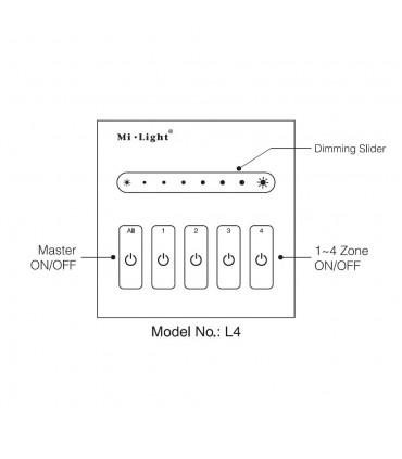 Mi-Light 4-channel 0~10V panel dimmer L4 - features