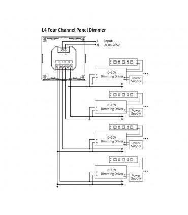 Mi-Light 4-channel 0~10V panel dimmer L4 - connection