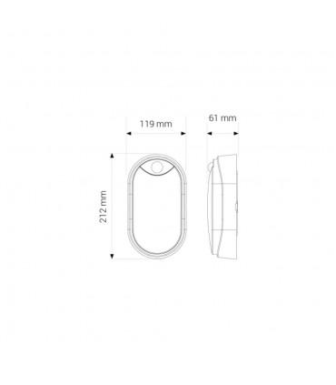MAX-LED oval bulkhead wall light 14W motion sensor neutral white - size