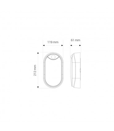 MAX-LED oval bulkhead wall light 14W neutral white - size