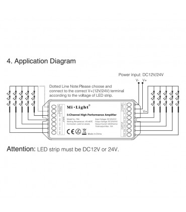 Mi-Light 5-channel high-performance amplifier PA5 - connection