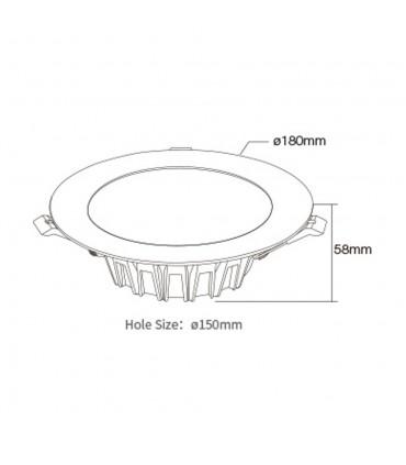 Mi-Light 18W RGB+CCT LED downlight FUT065 - size