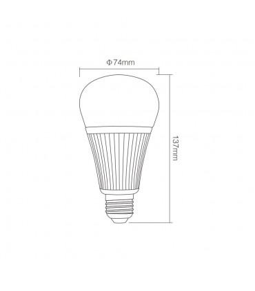 Mi-Light 9W DMX512 RGB+CCT LED light bulb FUTD04 - size