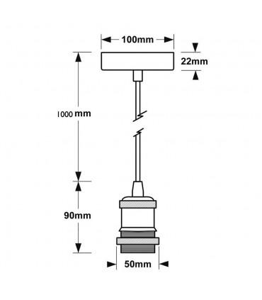 LED line® E27 single pendant ceiling light fittings - size