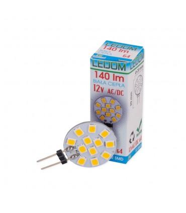 LEDOM G4 round light bulb 2W SMD 12V - warm white