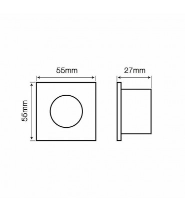 LED line® MR11 square waterproof ceiling downlight IP44 - size