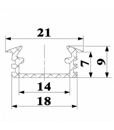 ALU-LED 1m recessed aluminium LED profile P1 - size