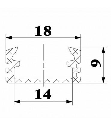 ALU-LED 1m surface aluminium LED profile P2 - size