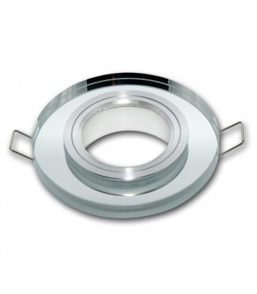 LED line® MR16 single glass recessed ceiling downlights - round silver