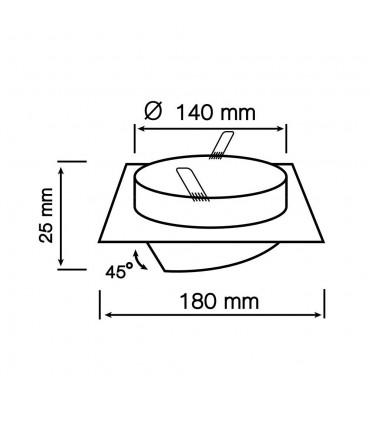 LED line® AR111 square adjustable single ceiling downlights - size