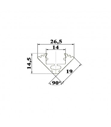 ALU-LED 1m corner aluminium LED profile P3 -