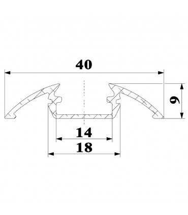 ALU-LED 1m surface aluminium LED profile P4 - size