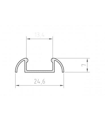 TECH LIGHT 1m surface aluminium LED profile P2-1 - size