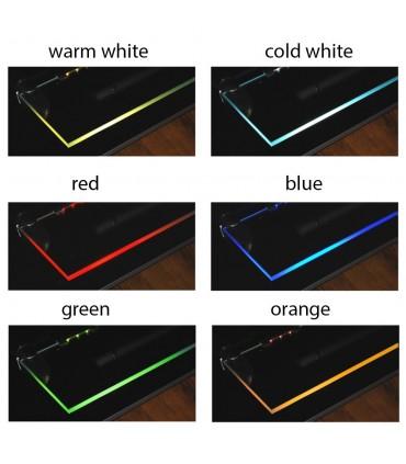 Design Light PVC single colour LED clips for glass shelving - colours