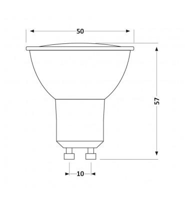 LEDOM GU10 spotlight bulb 3W SMD 240lm - size
