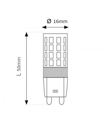MAX-LED G9 LED light bulb SMD 3.5W - size