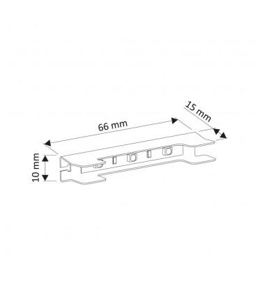 Design Light steel single colour LED clips for glass shelving - size