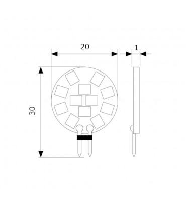 LEDOM G4 round light bulb 2W SMD 12V - size