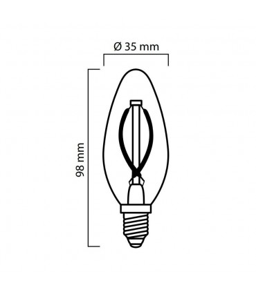 LED line® E14 candle light bulb C35 filament - 2w size