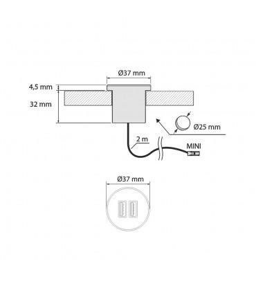 Easy installation in furniture 2m dual USB socket
