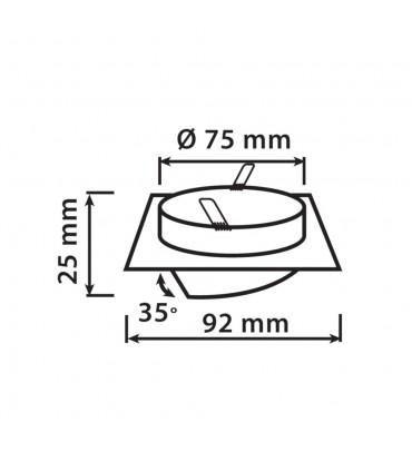 LEDOM MR16 square adjustable ceiling downlight - size