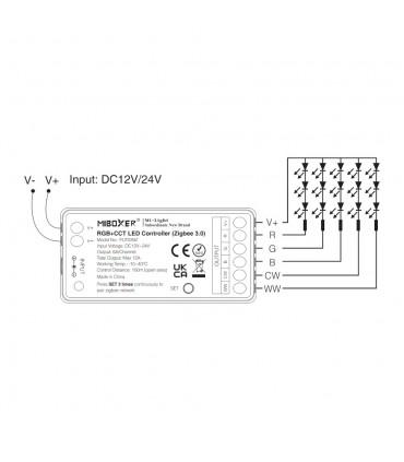 MiBoxer RGB+CCT LED controller (Zigbee 3.0) FUT039Z connection diagram