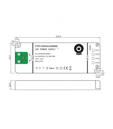 Zigbee LED driver size technical image