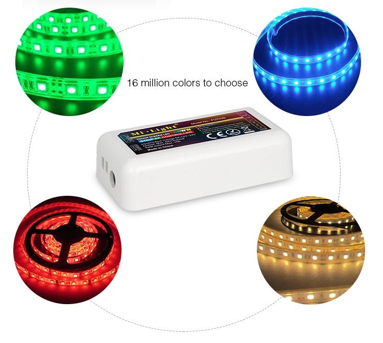 16 million colours RGB+CCT multicolour + warm neutral cold white light