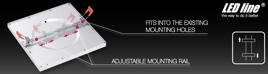 LED downlight LED panel fits into existing mounting holes adjustable mounting rail