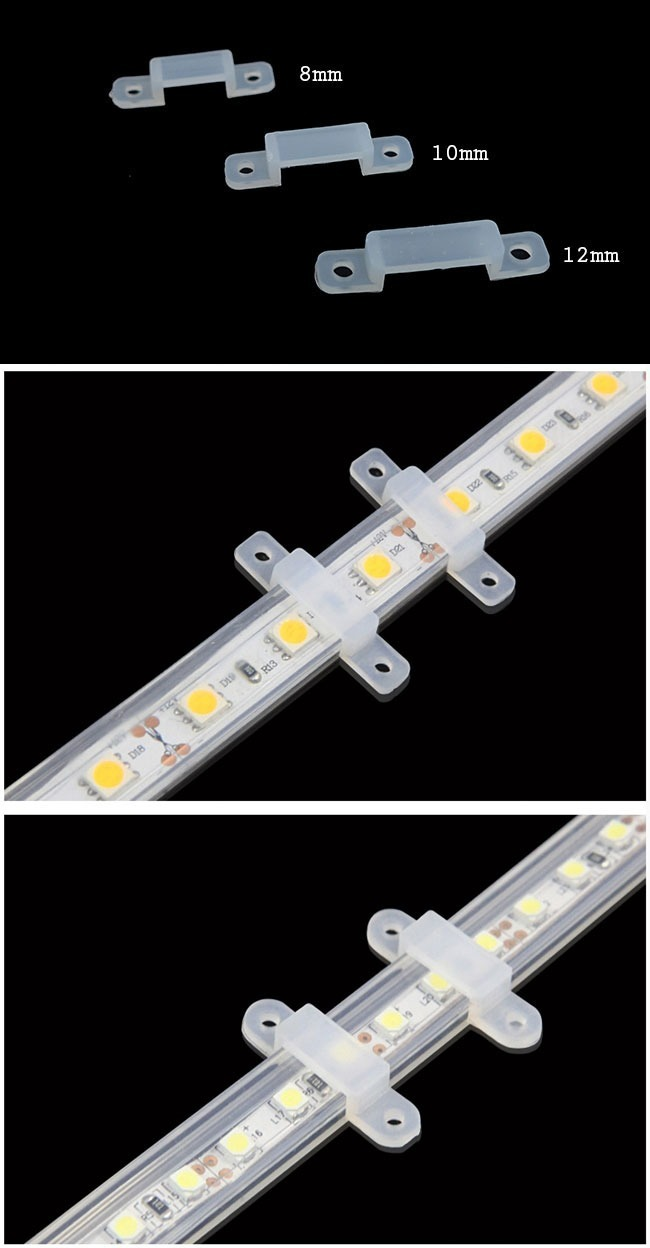 8mm clear soft silicone LED strip holders