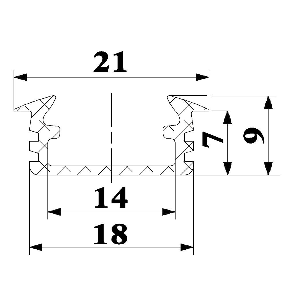 recessed aluminium profiles P1 size dimensions technical picture