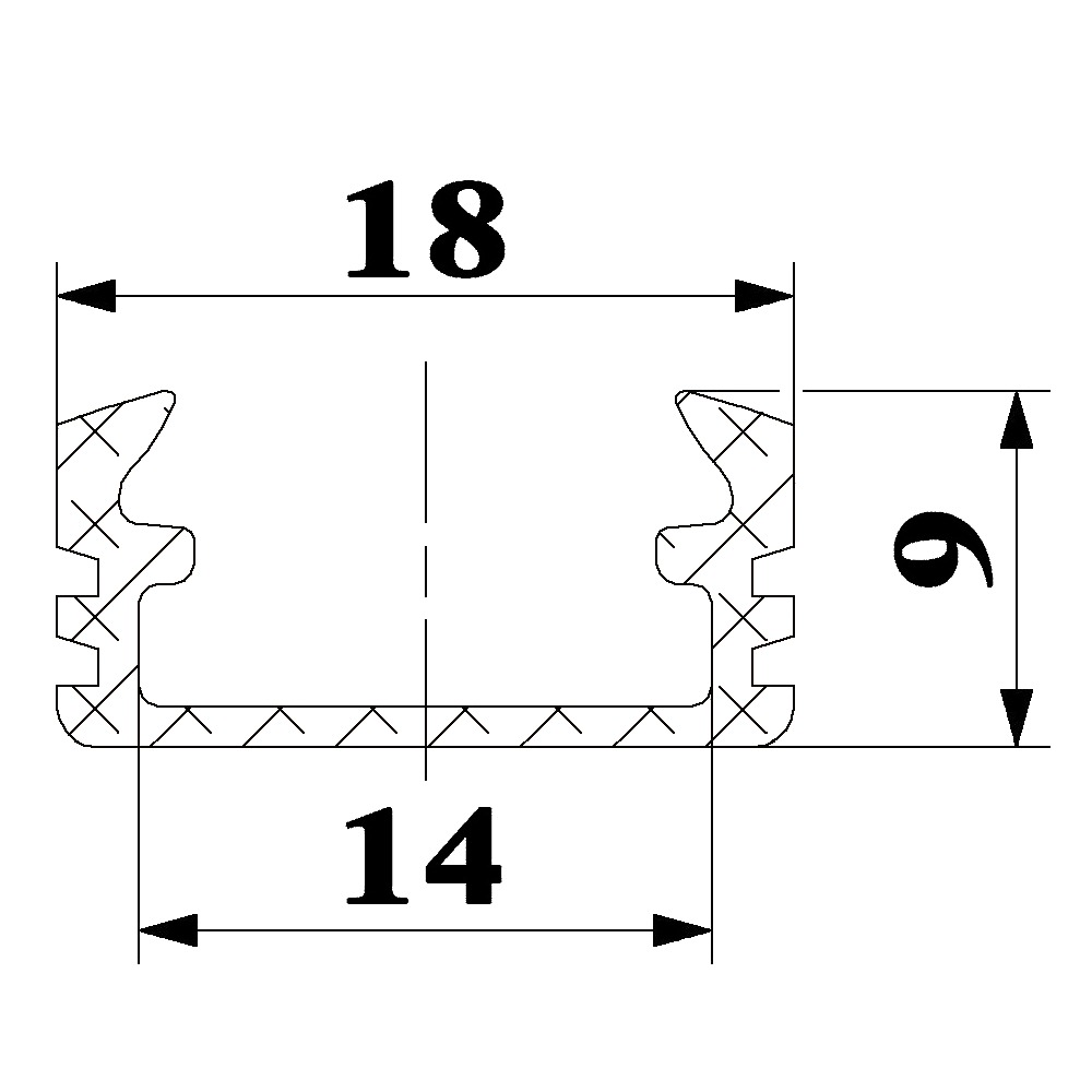 P2 surface aluminium profiles for LED strip size dimensions technical picture