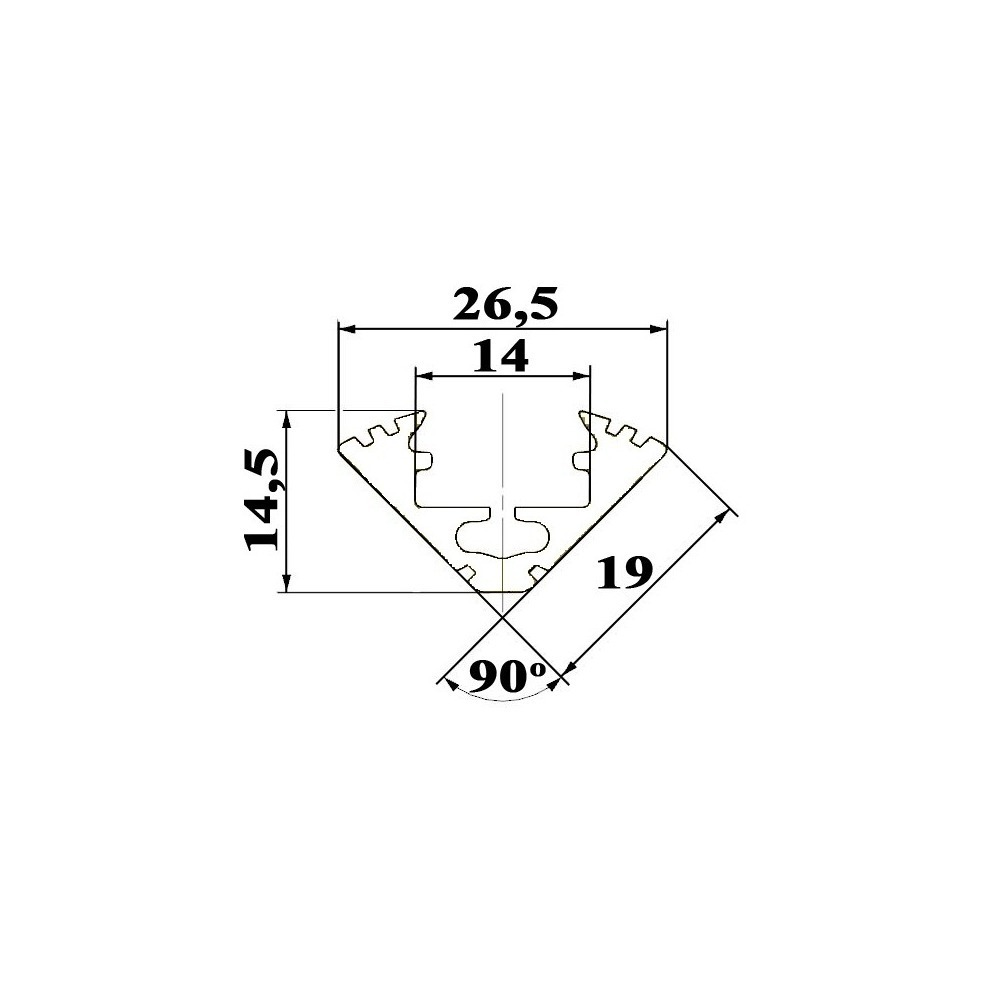 size of corner LED profile for LED strips dimensions technical picture