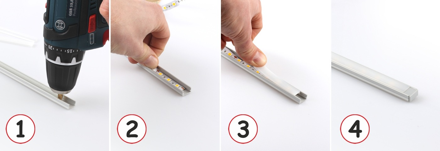 Design Light surface LED profile LINE MINI mounting guide show how to install channels
