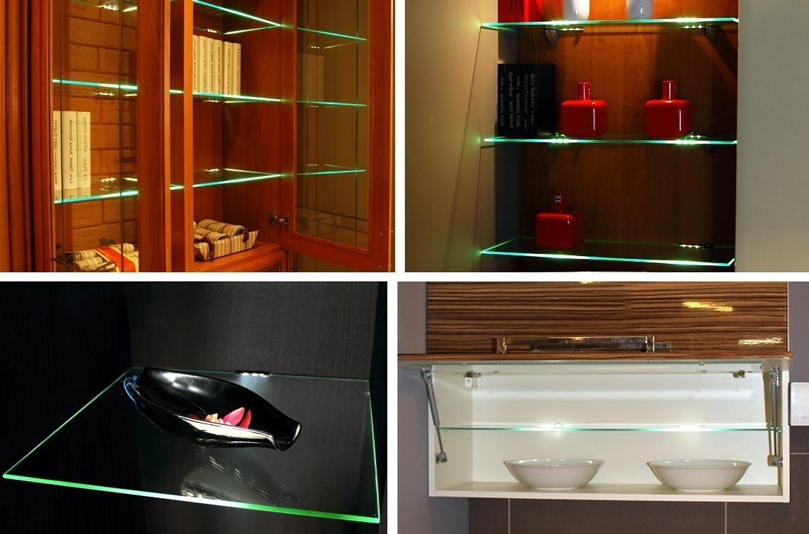 Design Light LED PVC blue clip for glass shelving application