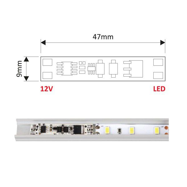 Design Light LED touch switch controller XC60 inside LED profile application