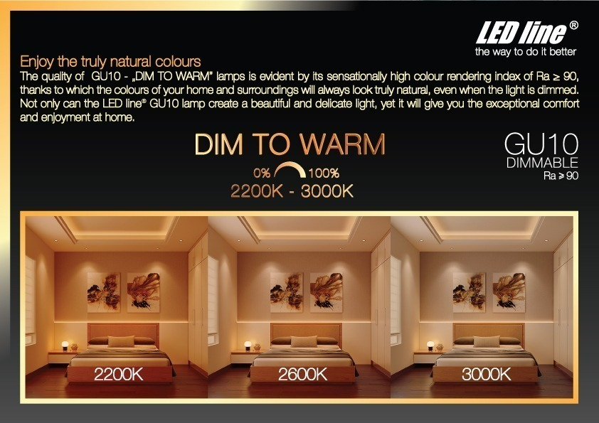 dim to warm dimmable GU10 LED lamp 2200K 3000K
