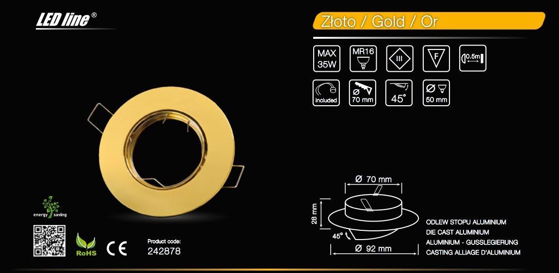 LED line® MR16 flat adjustable ceiling downlight gold