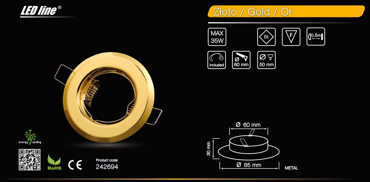 LED line® MR16 recessed ceiling downlight gold