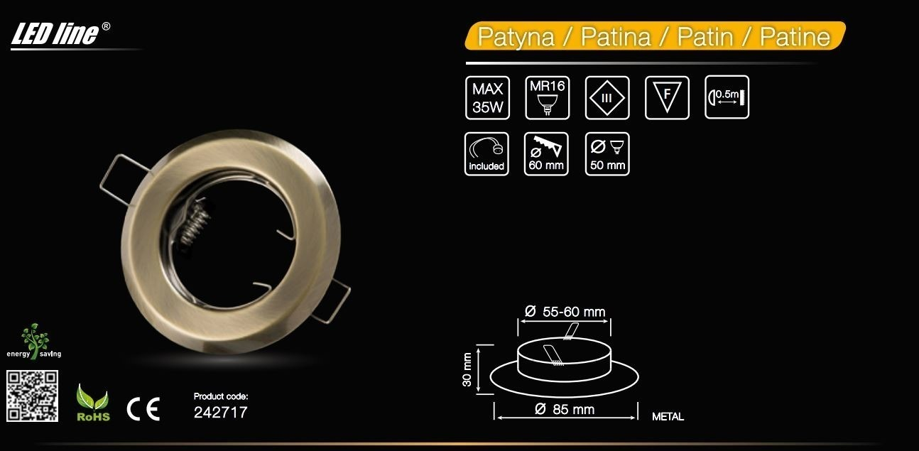 LED line® MR16 recessed ceiling downlight patina
