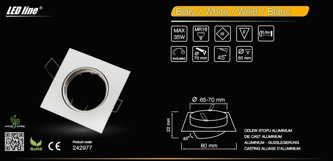 LED line® MR16 square adjustable ceiling downlight white