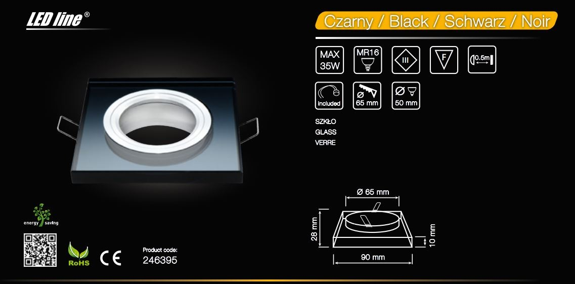 LED line® MR16 square glass recessed ceiling downlight black