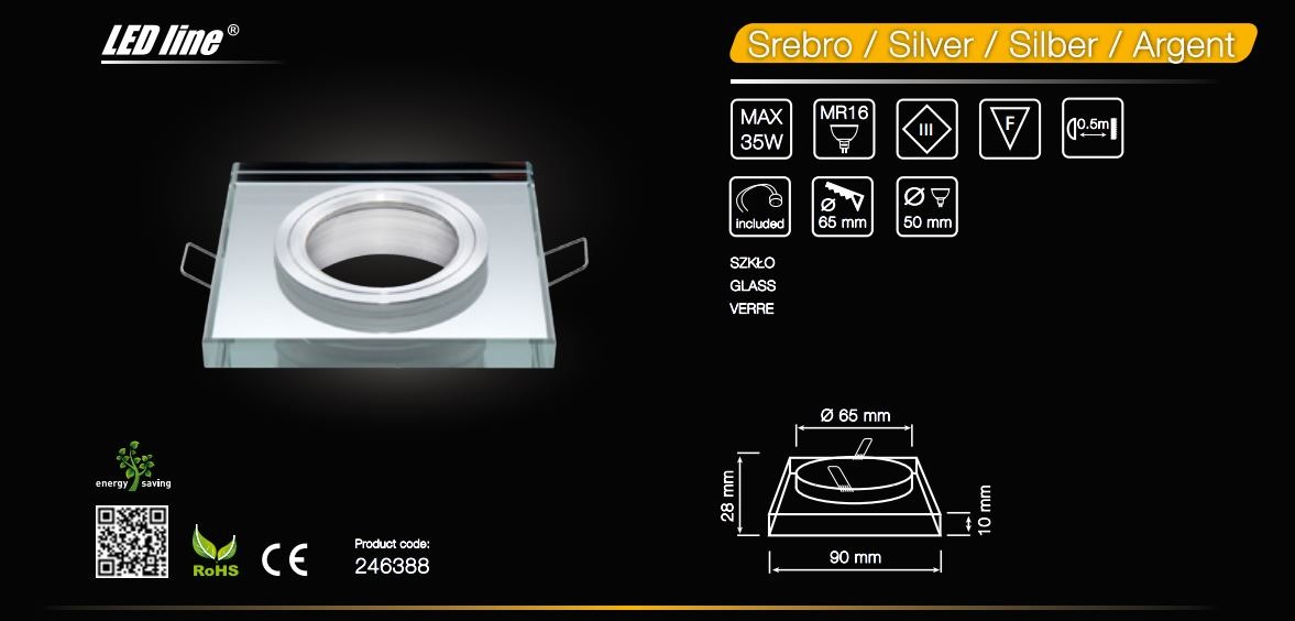 LED line® MR16 square glass recessed ceiling downlight silver