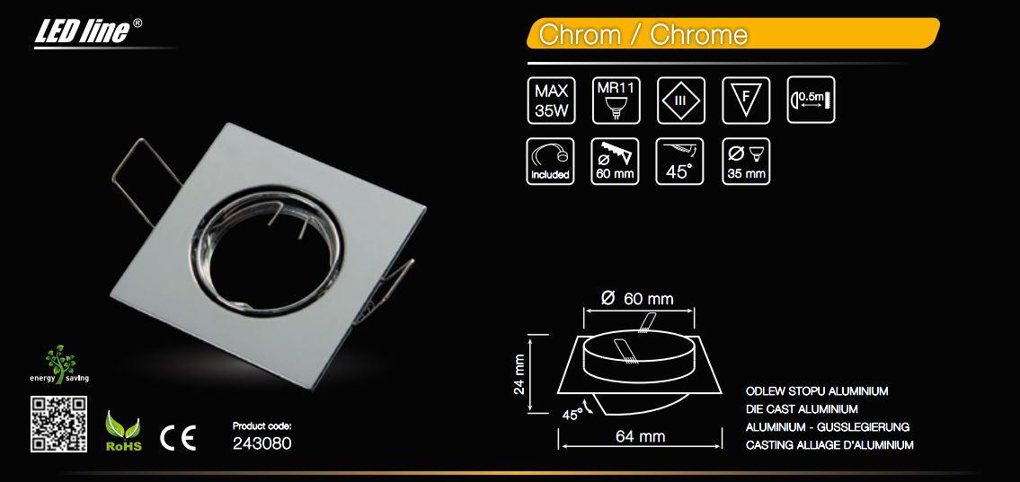 LED line® MR11 square adjustable ceiling downlight chrome