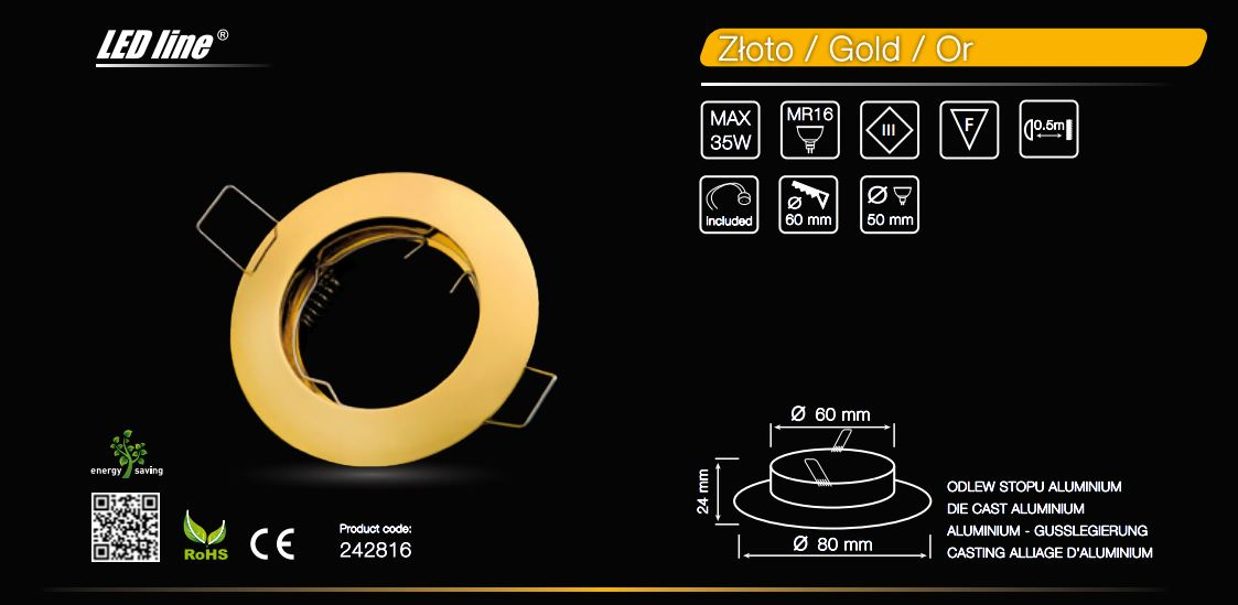LED line® MR16 flat recessed ceiling downlight gold