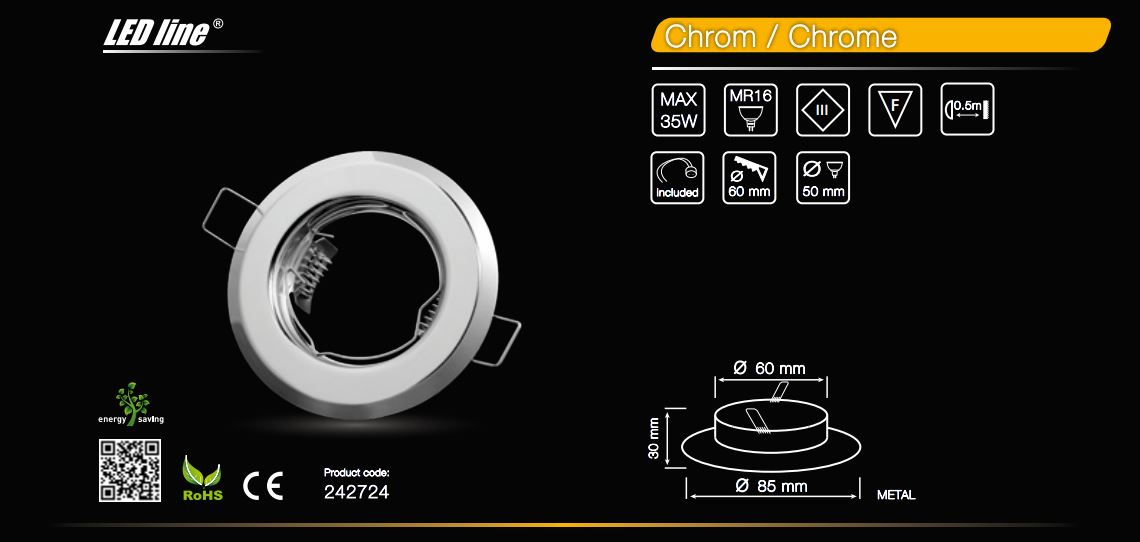 LED line® MR16 recessed ceiling downlight chrome