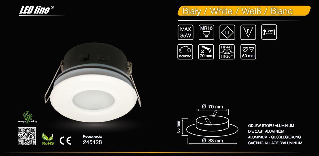 waterproof white downlight for bathroom