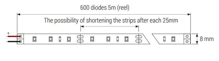 MAX-LED strip 3528 SMD 600 LED IP54 cold white diagram
